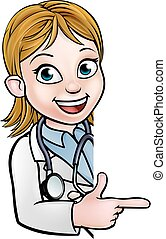 dottore, carattere, cartone animato, indicare, segno