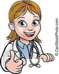 dottore, carattere, su, pollici, cartone animato