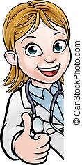 dottore, carattere, su, segno, pollici, cartone animato