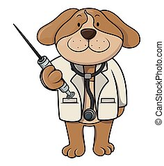 dottore, cartone animato, illustrazione, cane