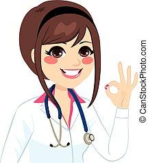 dottore femmina, segno, ok