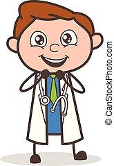 dottore, illustrazione, eccitato, vettore, espressione, cartone animato