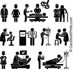 dottore, infermiera chirurgia, ospedale