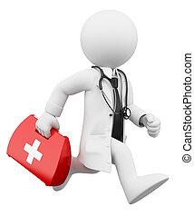 dottore, persone., kit, correndo, aiuto, bianco, 3d, primo