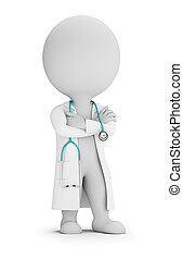 dottore, persone, -, stetoscopio, piccolo, 3d