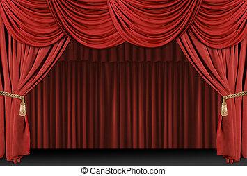 drappo, teatro, fondo, palcoscenico