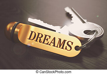 dreams., concetto, keychain., dorato