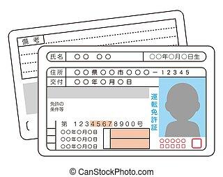 driver, giapponese, licenza, illustrazione