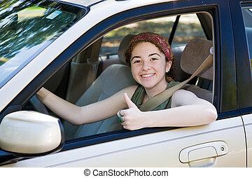 driver, su, adolescente, pollici