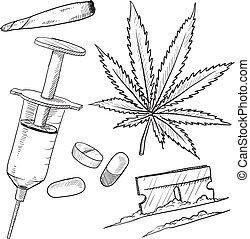 droghe, illegale, schizzo, oggetti