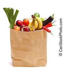 drogheria, pieno, sano, verdura, borsa, frutte