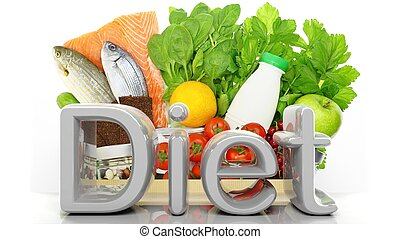 drogheria, sano, parola, isolato, dieta, borsa, carta, closeup, prodotti, bianco, 3d