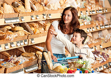 drogheria, shopping donna, -, supermercato, bambino, negozio