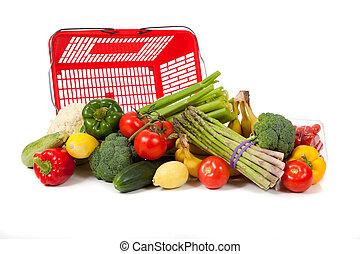 drogheria, verdura, sacco, assortito
