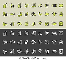 drogheria, vettore, set, icone