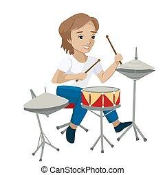 drums., ragazzo, gioco, vettore, illustrazione, giovane
