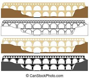 du, france., gard, pont, acquedotto