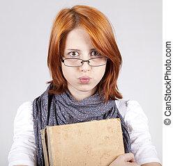dubitare, moda, vecchio, giovane, libro, ragazza, occhiali