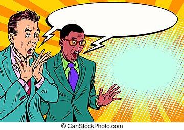 due, abbicare, gruppo, uomini affari, multi-etnico