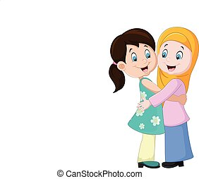 due, abbracciare, ragazze