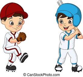 due, baseball, bambini, gioco, felice