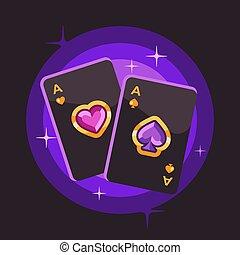 due, illustrazione, fondo., carta da gioco, baluginante, appartamento, poker, viola, assi