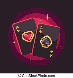 due, illustrazione, fondo., carta da gioco, baluginante, appartamento, rosso, poker, assi