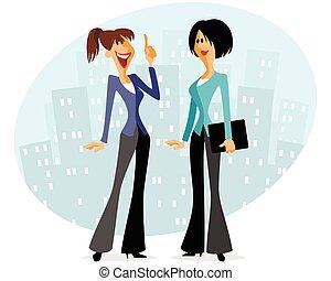 due, parlante, donne affari