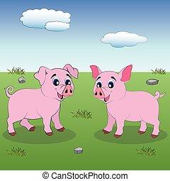 due, poco, pigs., cartone animato, maiali, carino