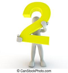 due, presa a terra, persone, carattere, numero, giallo, umano, piccolo, 3d