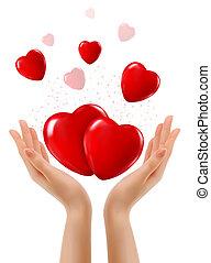 due, vettore, hearts., fondo, mani, vacanza, rosso