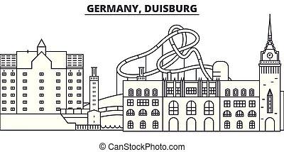 duisburg, città, illustration., paesaggio., limiti, famoso, orizzonte, vettore, viste, cityscape, linea, germania, lineare
