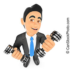 dumbbells, superare, due, fitness., uomo affari, esercitarsi, 3d