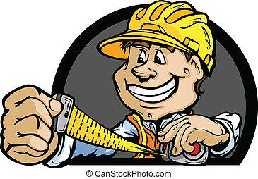 duro, illustrazione, vettore, metro a nastro, professionale, cappello, uomo pratico