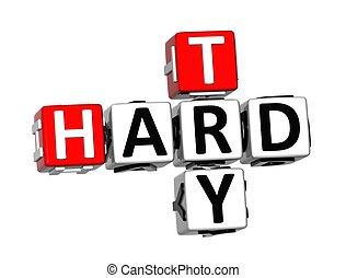 duro, tentare, cruciverba, fondo, bianco, 3d