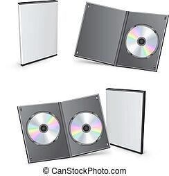 dvd, scatole, vettore, 3d