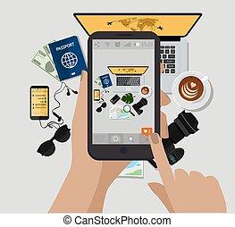 e, accessories., viaggiare, passaporto, computer, foto, vista., occhiali da sole, presa a terra, libro, vettore, macchina fotografica, cima, mano, photo., telefono, tazza, illustration., mobile, fare, map., caffè