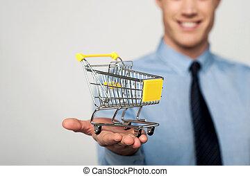 e-commercio, aggiungere, concept., carrello