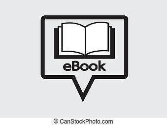 e-libro, set, e-reader, icone, lettore