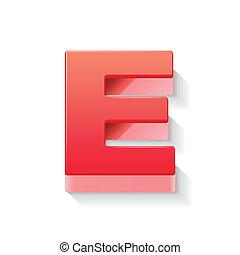 e, rosso, lettera, 3d