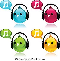 earphones., uccelli, colorito