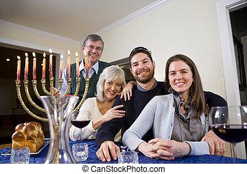 ebreo, festeggiare, famiglia, chanukah