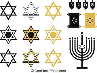 ebreo, set, religioso, stelle, icona