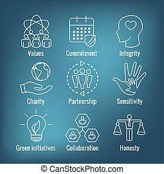 ecc, integrità, onestà, responsabilità, collaborazione, set, icona, contorno, sociale