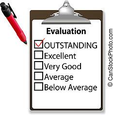 eccezionale, lavoro, marchio, penna, appunti, evalution, assegno