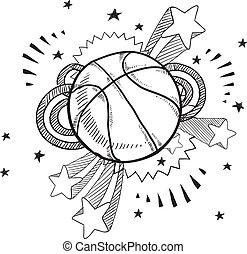 eccitamento, schizzo, pallacanestro