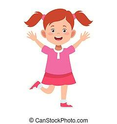 eccitato, carino, cartone animato, icona, ragazza
