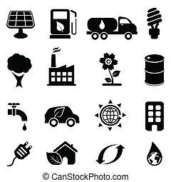 eco, ambiente, icone