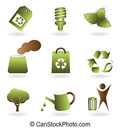 eco, ambiente, set, icona