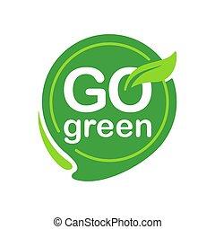 eco-amichevole, icona, andare, slogan, verde